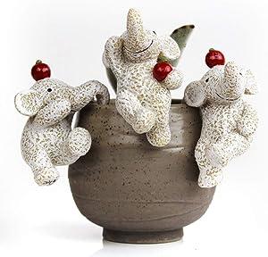 ChuXing Ifever 3 Pcs Resin Elephant Miniature Fairy Garden Accessories, Dog Figurines Animal Ornaments Planter Pot Hanger Decorations (Elephant with Apple)