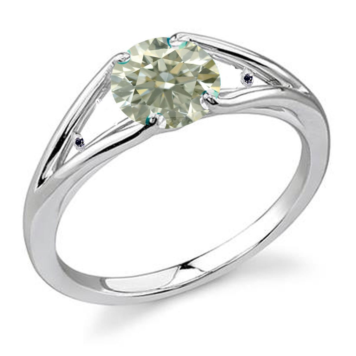 RINGJEWEL 1.22 ct SI2 Round Moissanite Solitaire Silver Plated Engagement Ring Off White Color Size 7 by RINGJEWEL