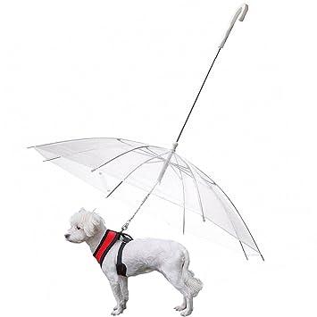 OMEM Paraguas de perro con correa para mascotas al aire libre a prueba de lluvia,
