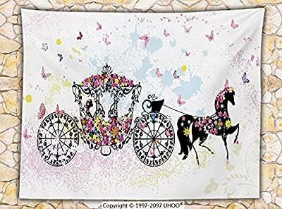 Kids Decor Fleece Throw Blanket Vintage Floral Carriage Black Horse Colorful Flowers Fairy Butterfly Girls Fun Party Print Throw