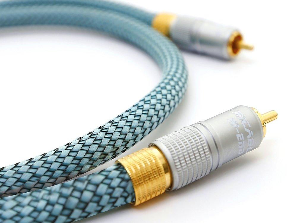 Ricable Hi-End DH2 - 2 Metros - Cable Hi-Fi Audio Digital Coaxial 75 Ohmios RCA. Calidad Hi-End para la conexión de fuentes digitales con conductor Solid ...