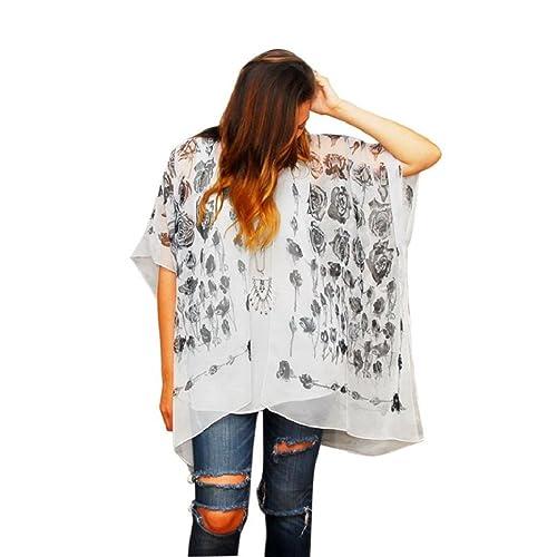 Tongshi Las mujeres aumentó la cosecha floral flojo Mantón kimono Cardigan blusa de la gasa de Boho