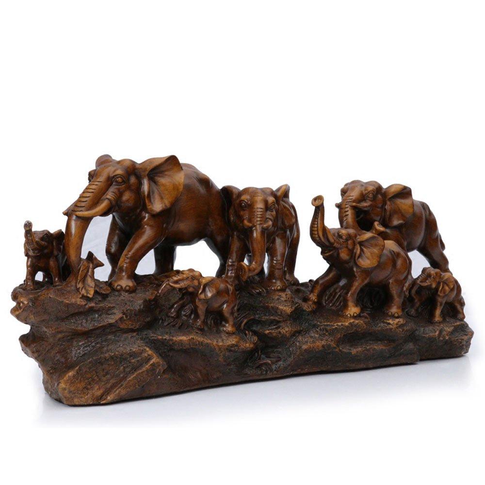 KMYX European Style Decoration Elephants Ornaments Desktop Furnishing Imitation Wood Color Resin Crafts Wine Cabinet TV Cabinet Entrance Study Shelf Office Housewarming Gifts