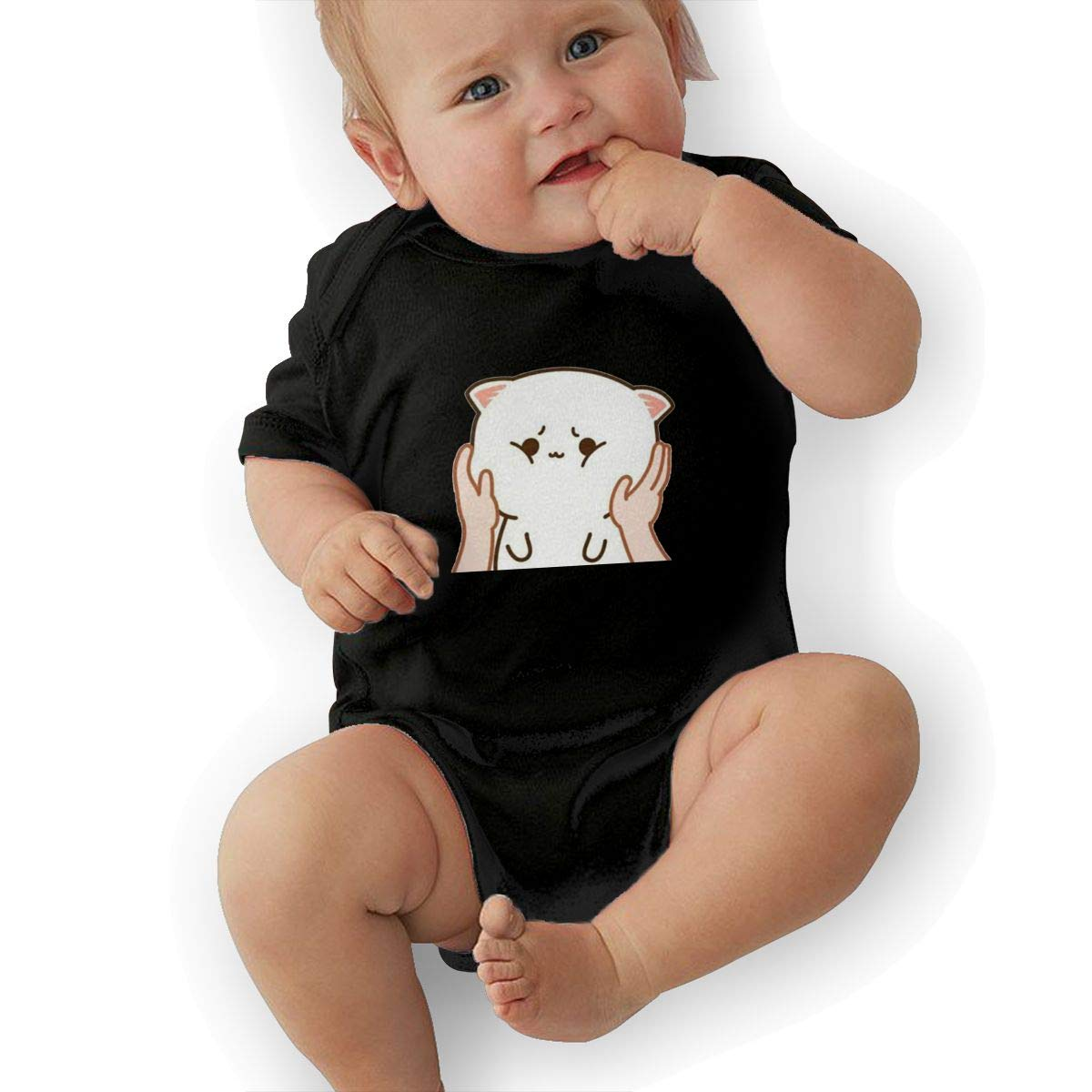 Hold The Cats Face in Your Hand Newborn Infant Toddler Baby Girls Boys Bodysuit Short Sleeve 0-24 MonthsBlack 18M
