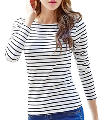 RRINSINS Womens Slim Fit Manga Larga Cuello Redondo Camiseta Blusa Tops at Amazon Womens Clothing store: