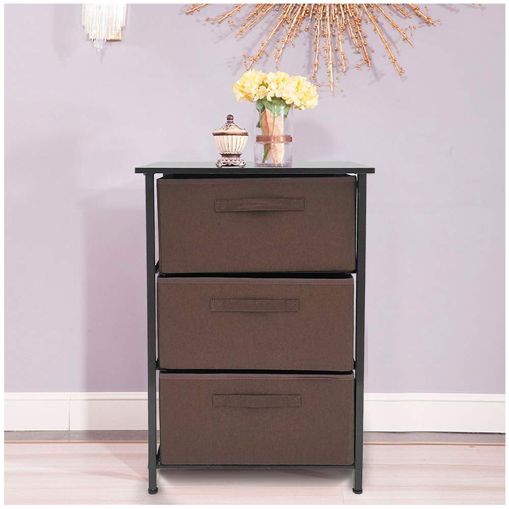 Leadmall Fabric Storage Bin Cabinet Drawer | 3-Layered Wide Dresser Storage Tower with Sturdy Steel Frame Wood Top | Organizer Unit for Bedroom, Hallway, Entryway, Closets (Brown) by Leadmall