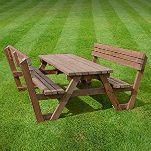 PICNIC TABLE WITH BACK SUPPORT - 4FT - BROWN - HEAVY DUTY - HAND MADE IN THE UK