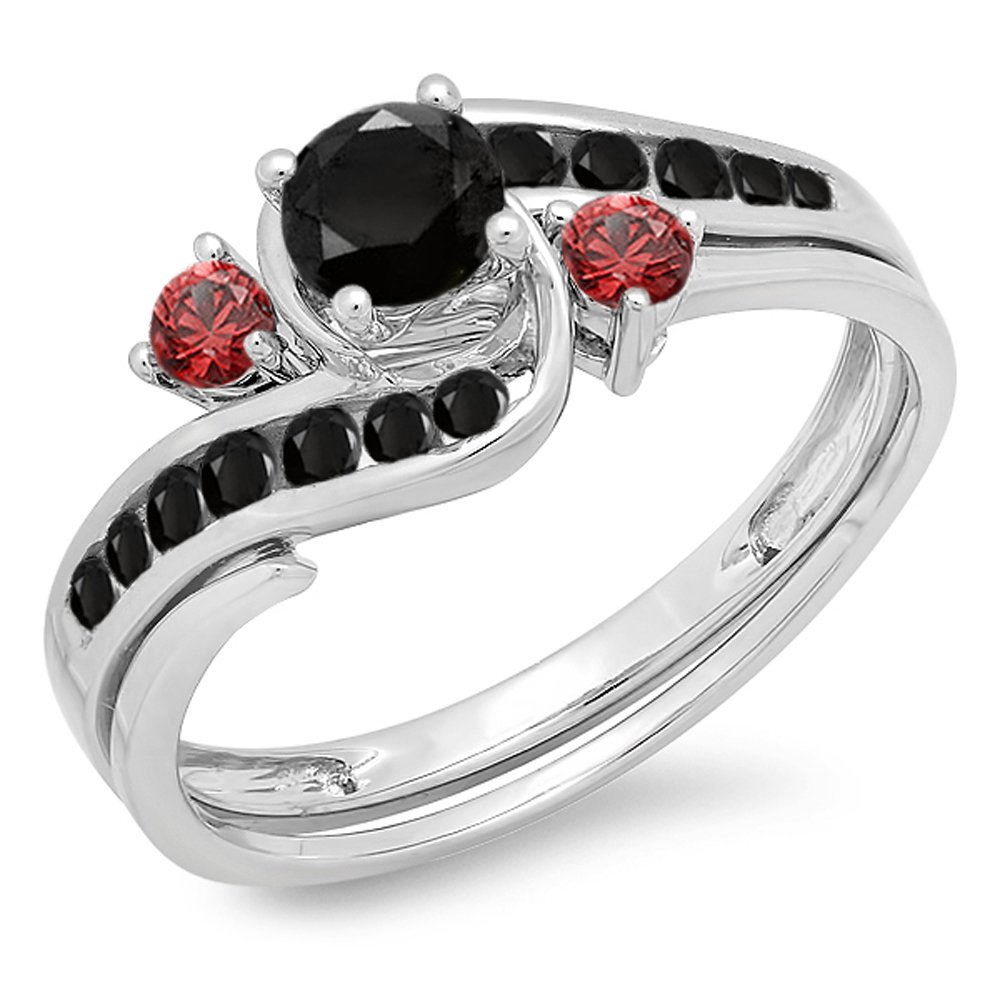 amazoncom 10k gold black diamond red ruby side stones ladies swirl bridal engagement ring set jewelry - Red Wedding Rings