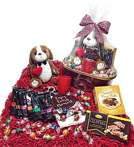 Chocolate Decadence Valentines Day Gift Basket - Lindt Lindor Truffles Gourmet Chocolate Candy, Hot Cocoas, Towel, Mug, Peanut Brittle, Cookies, Caramel Clusters & Plush Puppy Dog (Gourmet Cocoa Mug)