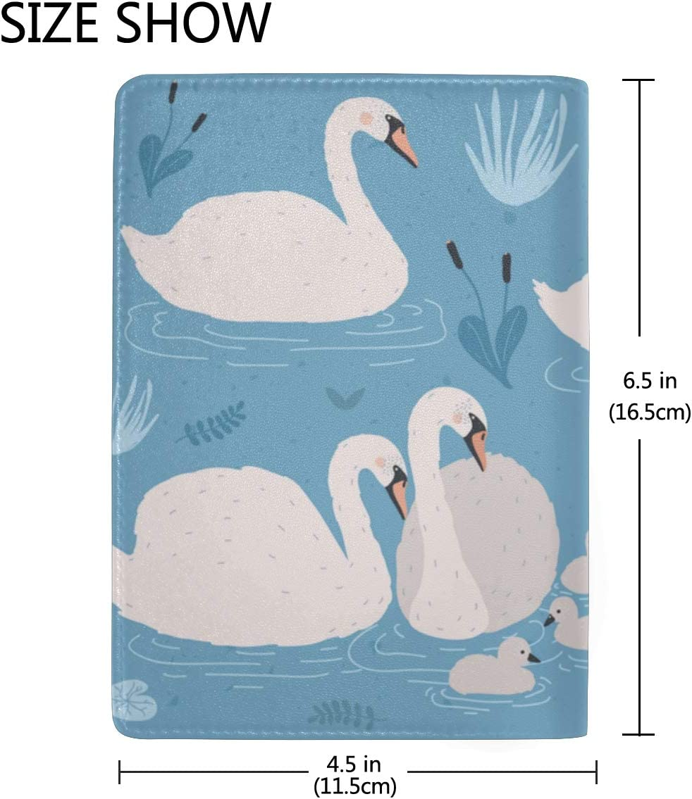 Beautiful White Swans And Water Blocking Print Passport Holder Cover Case Travel Luggage Passport Wallet Card Holder Made With Leather For Men Women Kids Family