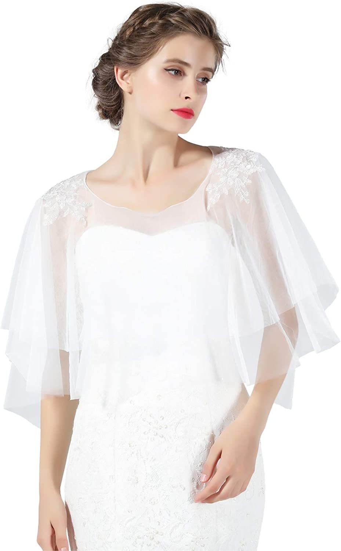 Chal Estola Encaje Mujer Capa Bolero Crochet de Tul Gasa para Fiesta Boda Bautizo Novia Blanco