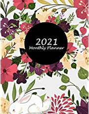 """2021 Monthly Planner: Beautiful Flower Floral, Monthly Calendar Book 2021, Weekly/Monthly/Yearly Calendar Journal, Large 8.5"""" x 11"""" 365 Daily journal Planner, 12 Months Calendar, schedule planner, Agenda Planner, Calendar Schedule Organizer"""