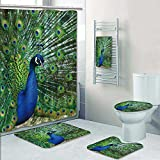 PRUNUSHOME Designer Bath Polyester 5-Piece Bathroom Set,peacock peafowl spread peacock peacock bird a male peacock Print bathroom rugs shower curtain/rings and Both Towels(Large)