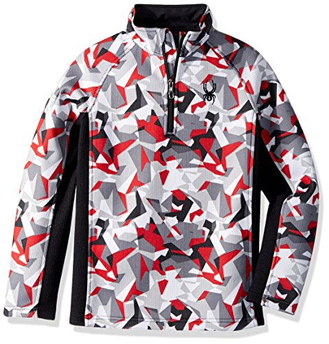Spyder Boy's Outbound Stryke Jacket, White Mini Camo Print/Black, Large