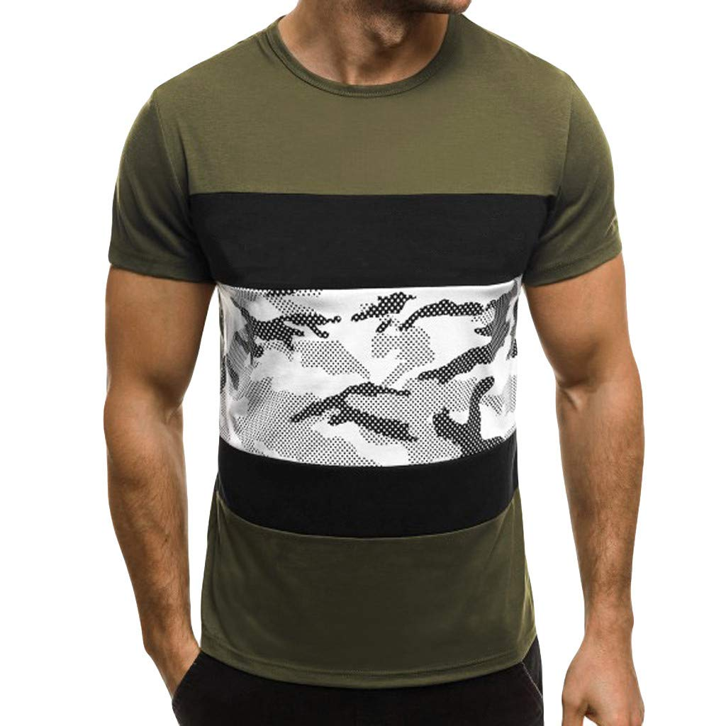 Men's Shirts Casual Printing Standard Fit Cotton Short Sleeve Crew Neck Tops (XXXL, Army Green)