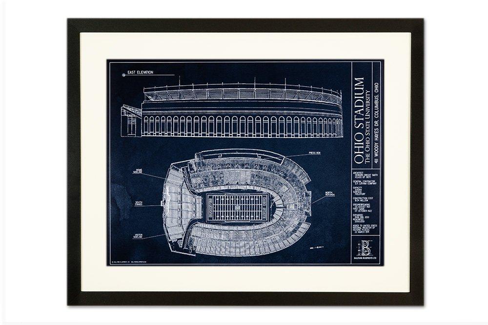 オハイオスタジアム青写真スタイル印刷 フレーム - ブラック 18\