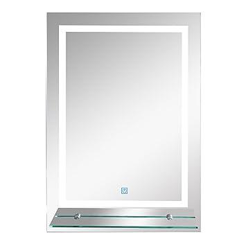 kleankin LED Badspiegel Badezimmerspiegel mit Beleuchtung Glas ...