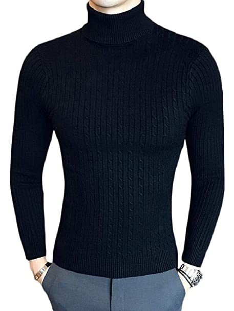 HTOOHTOOH Mens Blouse Kintted Pullover Turtle Neck Long-Sleeved Slim Sweaters
