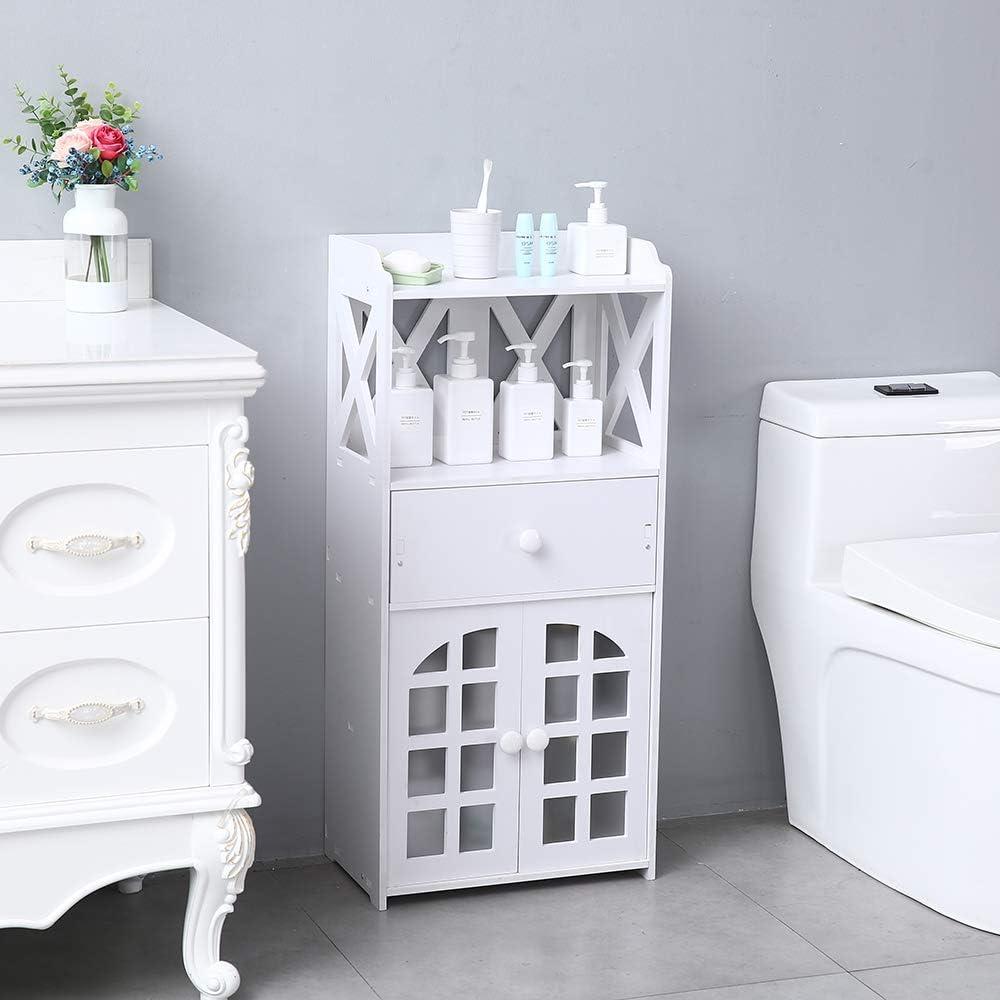 Anshunyin Bathroom Storage Floor Cabinet Double Door Compartment with Drawer Shelf Free-Standing Bathroom Storage Cabinet