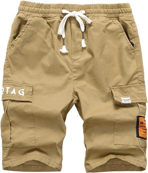 YoungSoul Pantalones Cortos para niño, Bermudas Cargo de Algodon ...