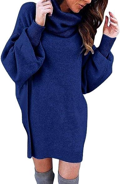 Prettyest Pull Robe Courte Femme Hiver Manche Longue Casual Mini Dress Col Roule Tricot Chandails Blouse Elegant Oversize Lache Pullover Elegant Robe Pull Amazon Fr Vetements Et Accessoires