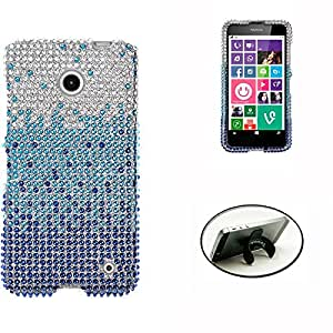 [STOP&ACCESSORIZE] BLUE WATERFALL RHINESTONE COVER REFINED PLASTIC MOBILE PHONE CASE for NOKIA LUMIA 635 + FREE U KICKSTAND