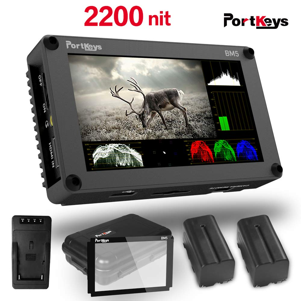 PortKeys BM5 5.2 Inch Ultra Bright 2200nit 3G SDI/4K HDMI Touch Screen DSLR Camera Field Monitor with 3D LUT,Wavaform,Camera Control Functions ,On-Portable Small Monitor by Portkeys
