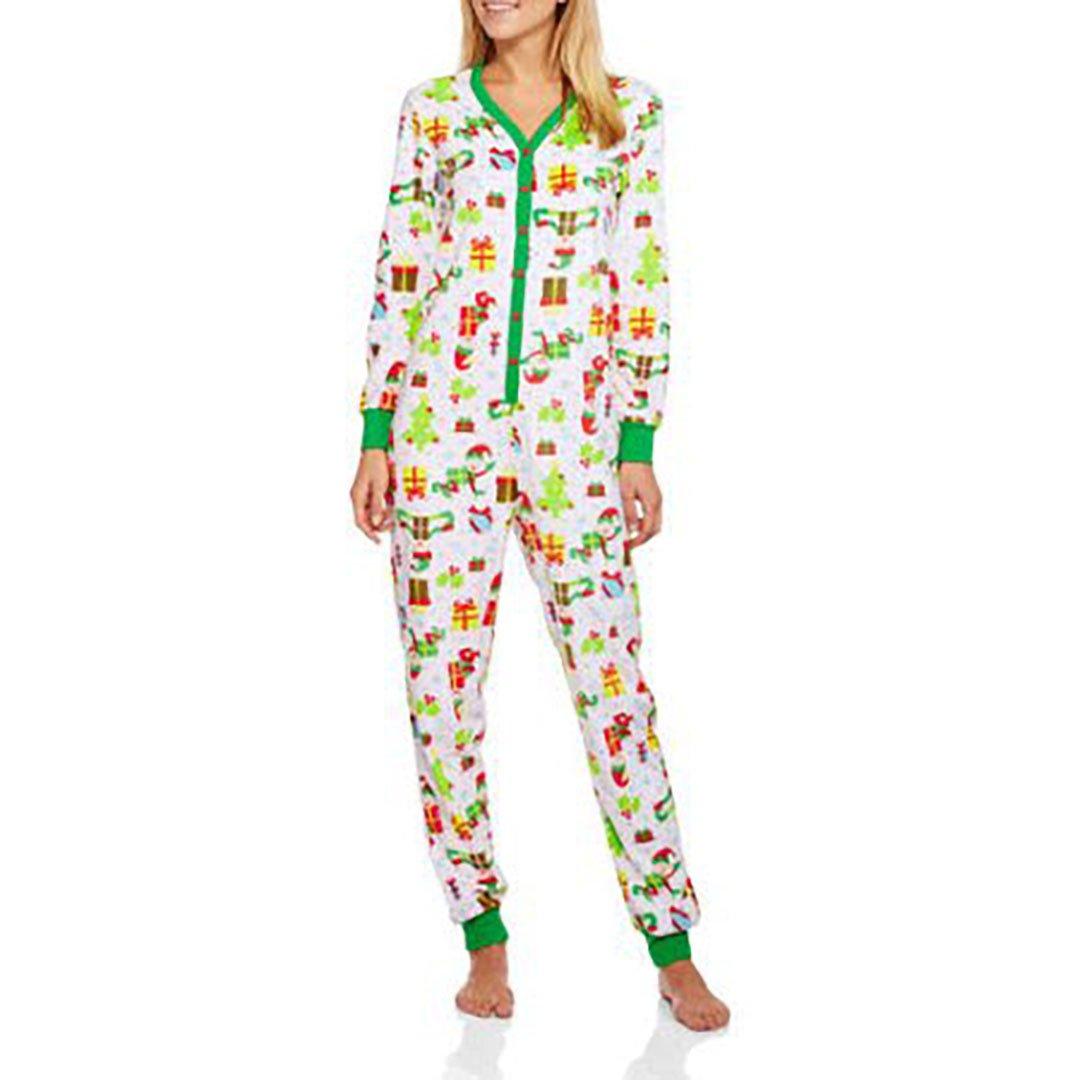 Secret Treasures Women's Christmas Elf Micro Fleece Union Suit Pajamas