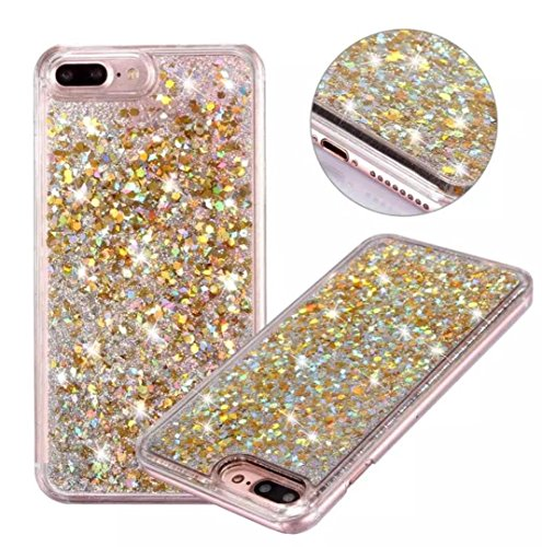 iPhone6S Shell, Glitter Flowing Floating Sequins Quicksand Moving Liquid Slim Cover, OMORRO New Shiny Tin Foil Paillettes Sand Ultralight Thin Case for Apple iPhone 6 Gold (Tin Shiny)