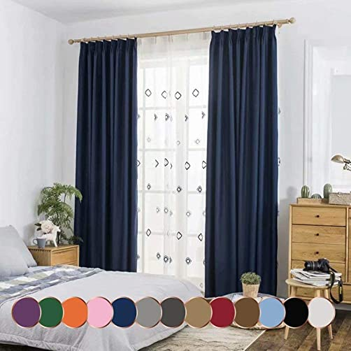Leadtimes Navy Insulated Blackout Curtains Full Shading Grommet Divider Drapes 84 Inch Long Extra Wide 100 Blackout Panels Navy, 100 W x 84 L
