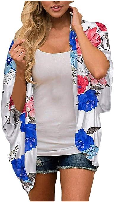 Women Floral Kimono Cardigan Casual Chiffon Kimonos Tops Boho Loose Blouse Open Front Swinsuit Beach Cover Ups