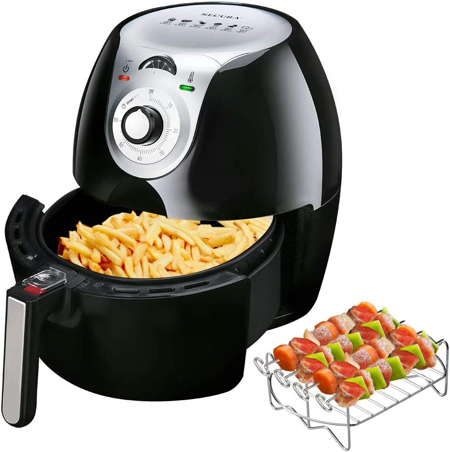 Secura Electric Hot Air Fryer 1700 Watt Extra Large Capacity 5.0 L / 5.3 QT Household Low Fat Healthy Hot Air Fryers with Basket and Additional Accessories, Recipes, BBQ Rack and Skewers