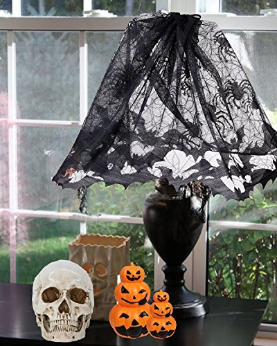 Halloween Mantel Scarf, Outgeek Fireplace Scarf Lace Lampshade Topper with Ribbon 60