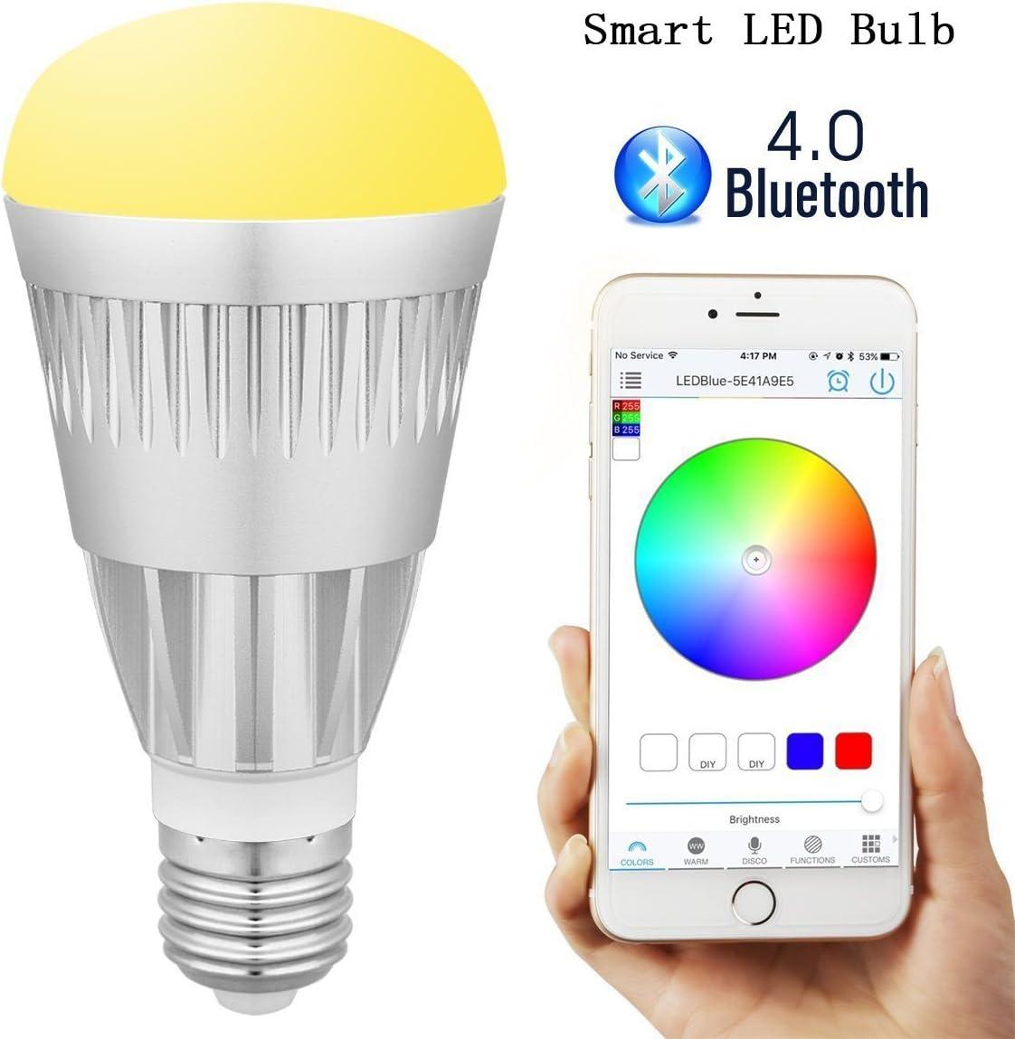 pengbo Smart Bluetooth Bombilla LED, multicolor WiFi LED Lámpara ...
