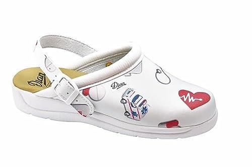 Dian Pisa estampado - zapatos hospitalarios - talla 37 - blanco bHLs4gKwC