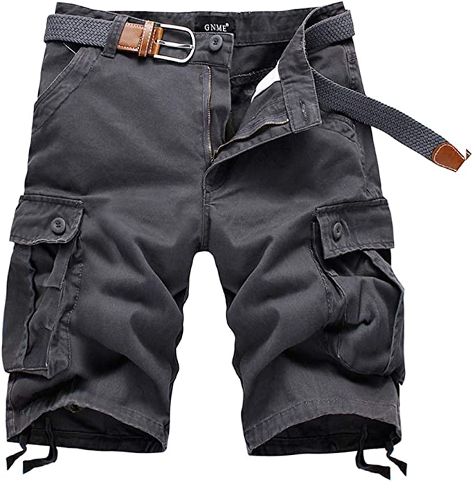 IDEALSANXUN Mens Casual Loose Fit Multi-Pockets Military Cargo Shorts