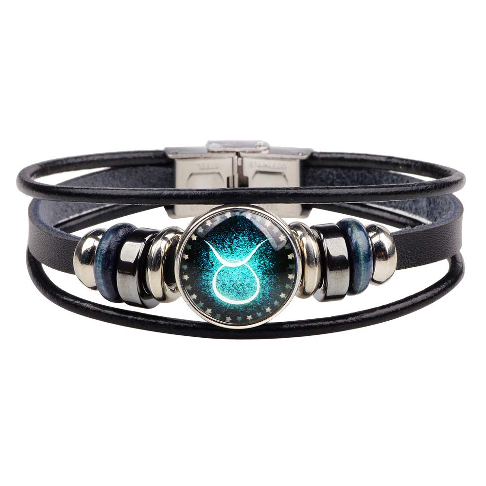 Q﹠YFH Fashion 12 Zodiac Signs Bracelet with Stainless Steel Clasp Leather Bracelet Bangle Set for Women Jewelry