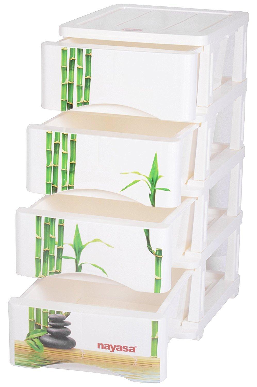 Nayasa Plastic Tuckins, 4 Drawers, Green Bamboo