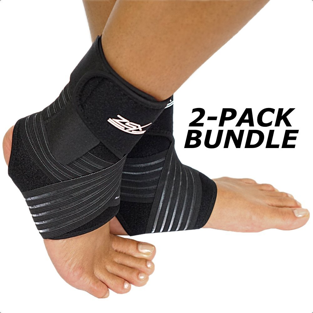 Ankle Brace (PAIR) with Bonus Straps, for Ankle Support, Plantar Fasciitis, or Swollen Ankles, One Size Fits Most, By ZSX SPORT (Foot Size - Reg)