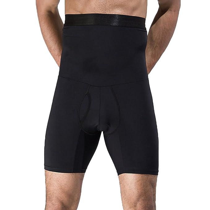 Yiiquan Pantalones de deporte Moldeador con Hombre Ropa Interior Reductora Faja Moldeadora Reductora Adelgazante Cinturón Adelgazante Abdominal Negro XL: ...