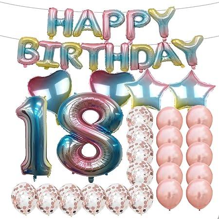 Globos de látex de 18 cumpleaños con diseño de arcoíris y ...
