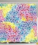 pink and yellow shower curtain - Ambesonne Rainbow Shower Curtain Floral Decor by, Colorful Petals Abstract Flowers Pattern Watercolor Effect Print Artsy Design, Fabric Bathroom Decorations, with Hooks, Purple Red Blue Yellow Pink