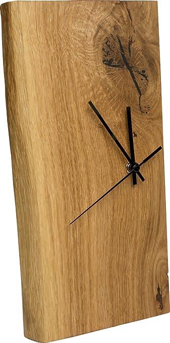 Uhr Modern funk wanduhr eiche massiv echt holz uhr als standuhr tisch uhr