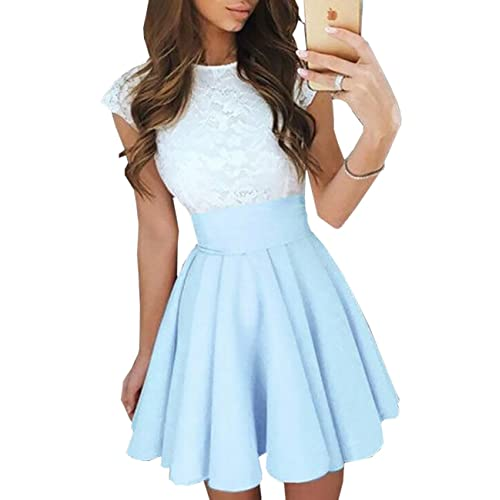 Ninimour Womens Trendy Splicing High Waist Pleated Lace Mini A-line Dress