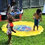 Autbye Sprinkle and Splash Play Mat 170CM Big Size Enhanced PVC Eco-Friendly Material Splash Pad for Baby Children Summer Play Beach Outdoor Garden Lawn Sprinkler Cushion