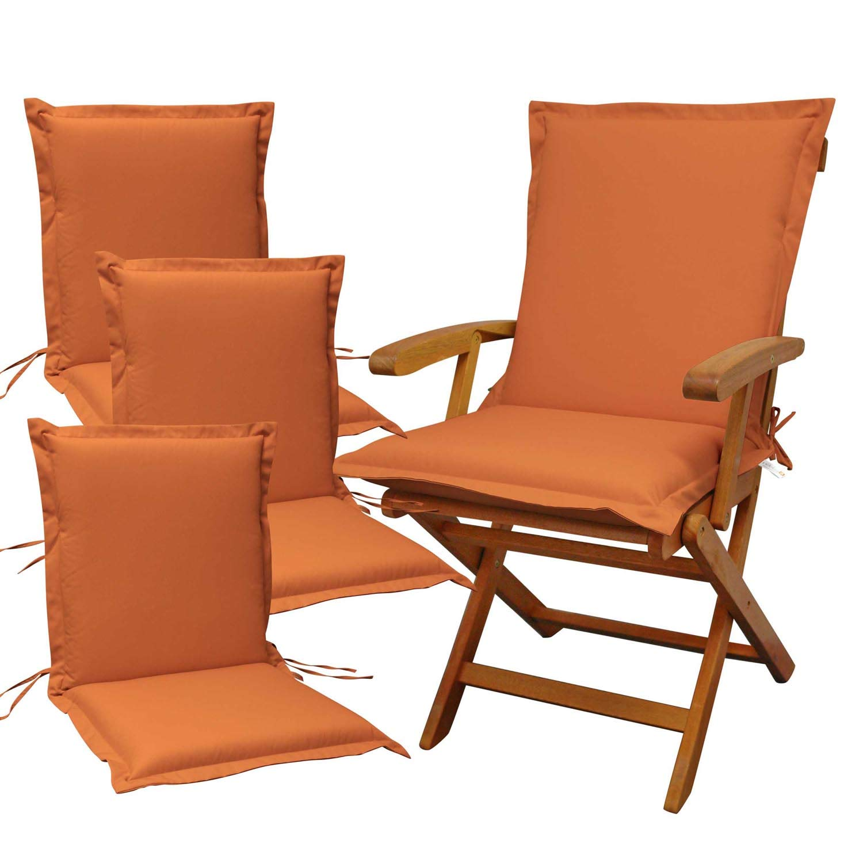 Indoba 4 x Sitzauflage Niederlehner Premium-extra dick-Terra-Serie Premium-IND-70481-AUNL-4 Polsterauflage