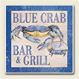 Blue Crab Bar and Grill ~ Artworks Home Accents ~ Absorbastone Tile Trivet