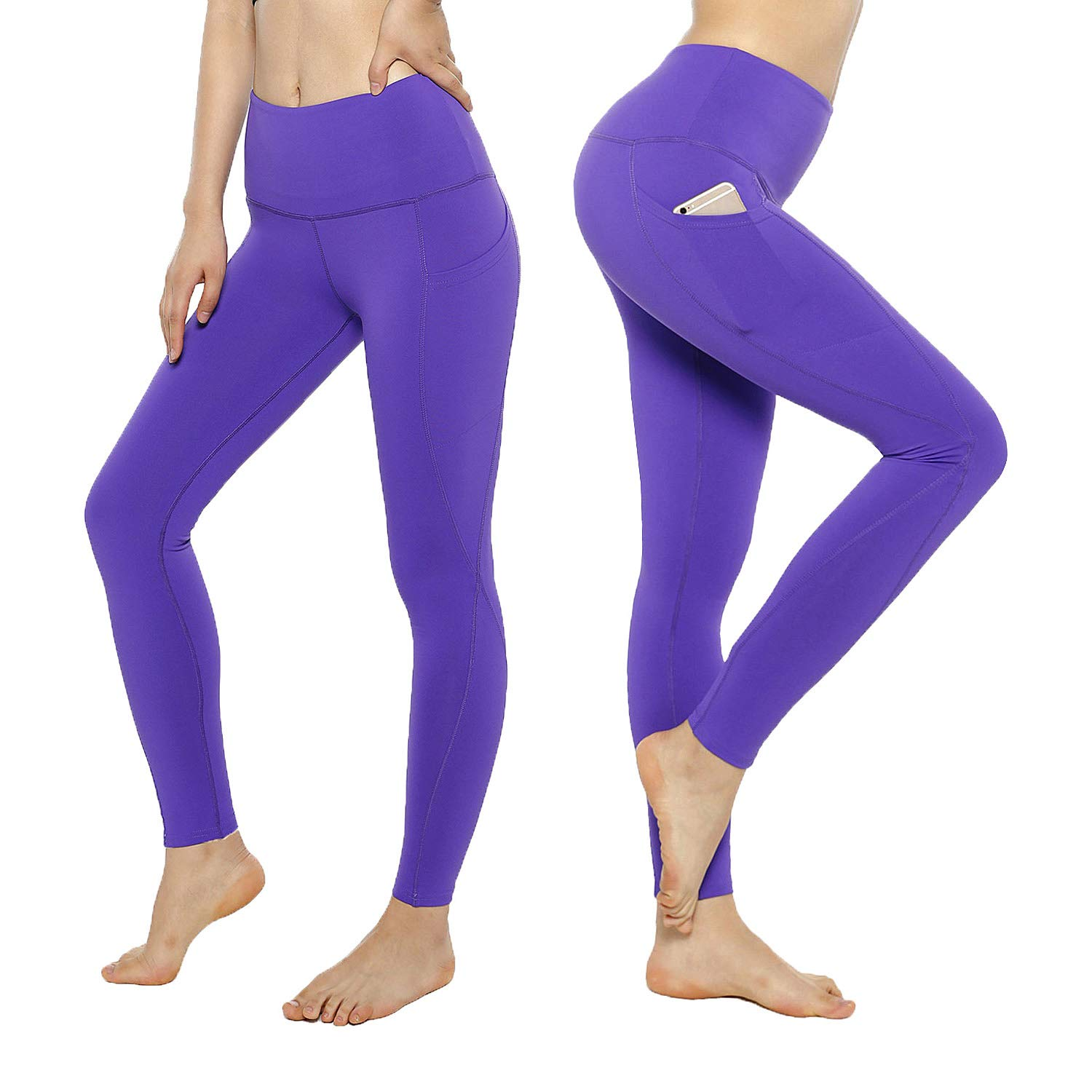 KT Tummy Control Yoga Leggings  High Waisted Super Compression Workout Leggings  Womens Fitness Postpartum Leggings Pants with Pockets (XLarge, PurpleSide Pockets)