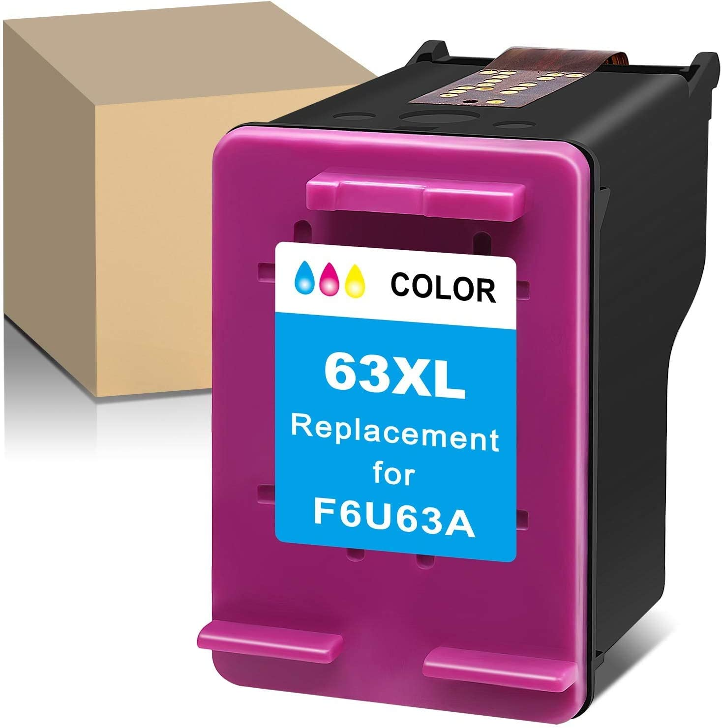 MaxPage Remanufactured Ink Cartridge Replacement for HP 63XL 63 XL Tri-Color to Use with Envy 4520 3634 OfficeJet 3830 5252 4650 5258 4655 4652 5255 DeskJet 3636 1111 3630 1112 3637 3632, 1-Pack