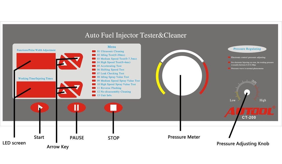 Autool CT200 ultrasónico gasolina inyector limpiador pruebas 220 V y probador para coche motocicleta: Amazon.es: Coche y moto